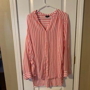 Pink/white striped tunic